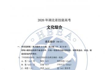 2020年湖北省技能高考文化综合试卷及参考答案